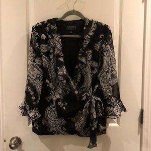 Dress Barn Collection wrap blouse NWT